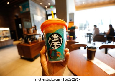 SHANGHAI CHINA-Aug22, 2018, a Starbucks coffee shop in Shanghai, marked with cups for consumers to buy. the largest coffee chain store in the world, its headquarters in Seattle, Washington.
