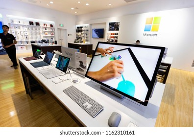SHANGHAI CHINA-Aug22, 2018: surface intelligent computer products in  SHANGHAI Microsoft storeattract consumers' attention. American multinational software development company, founded by Bill Gate.