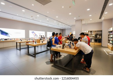 SHANGHAI CHINA-October 29, 2018: consumers in Shanghai a mall XIAOMI flagship store officially opened, consumers buy mobile phone, electric cooker, sweeping robot TV electronic products.