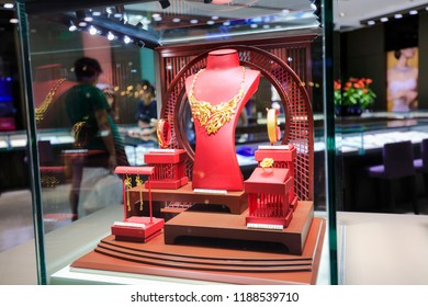 SHANGHAI CHINA-Sep20, 2018: gold jewelry and ornaments sold in a gold store attract consumers to buy. China has become the world's largest gold producer, consumer and processing country.