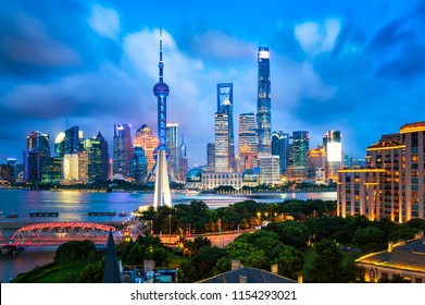 Shanghai city buildings night scenery