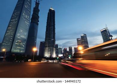 Shanghai city car light trails