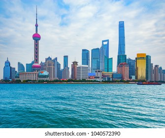 Shanghai city center skyline by the Huangpu River. China.
