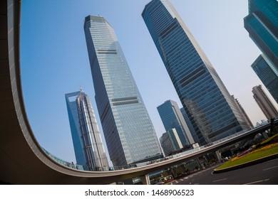Shanghai city modern buildings background of street scene