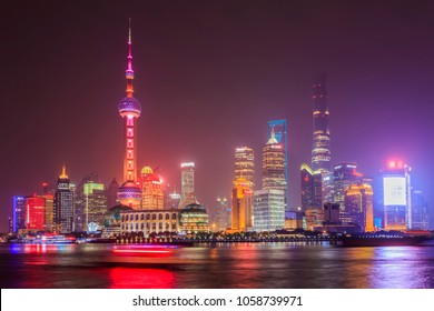 Shanghai city night view architectural landscape