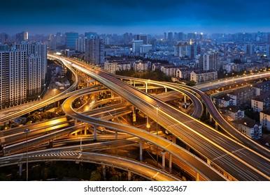Shanghai City overhead road night view