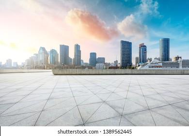 Shanghai city skyline and buildings with empty floor