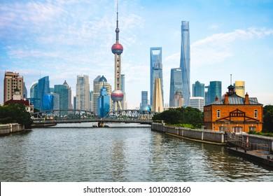Shanghai city skyline with historical Waibaidu bridge,  Shanghai China