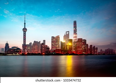 Shanghai city skyline in the morning, Shanghai China