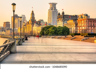 Shanghai city skyline, sunrise on The Bund, Shanghai, China.