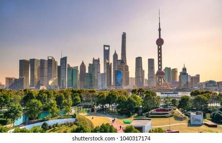 Shanghai city skyline, view of the skyscrapers of Pudong and huangpu River. China.