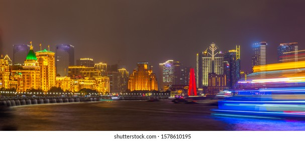 Shanghai city skyline, view of the skyscrapers of Pudong and huangpu River. Shanghai, China.