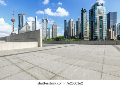 Shanghai city square and modern commercial building scenery,China