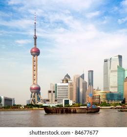 Shanghai city view, with oriental pearl tower, landmark of Shanghai, beside huangpu riv