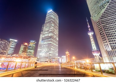 shanghai cityscape on the pedestrian bridge at night,China