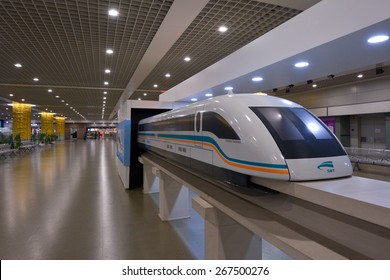 SHANGHAI, CN - MAR 15 2015:Scale model of Shanghai Maglev train in Shanghai airport. The line is the first commercially operated high-speed magnetic levitation line in the world