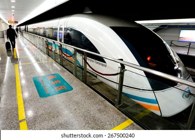 SHANGHAI, CN - MAR 18 2015:Shanghai Maglev Train - Shanghai Transrapid. The line is the first commercially operated high-speed magnetic levitation line in the world