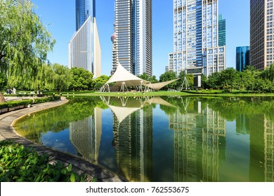 Shanghai commercial district modern urban architecture and green city park,China