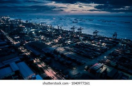 shanghai container terminal at nightfall