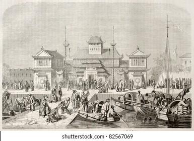 Shanghai customhouse, old illustration. Created by Grandsire after Trevise, published on Le Tour du Monde, Paris, 1860