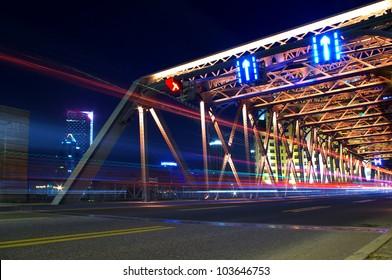 shanghai Garden Bridge Night traffic