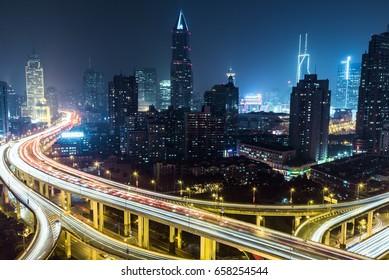 Shanghai Highway at Night,China