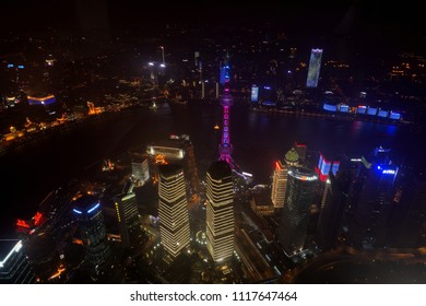 SHANGHAI - JUN 11: Shanghai City View with Oriental Pearl Tower in the night time form Shanghai Tower on June 11, 2018 in Shanghai, China