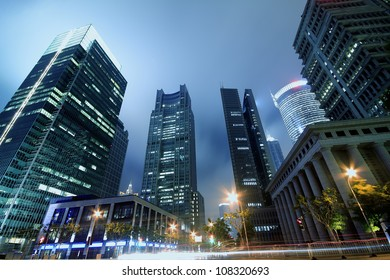 Shanghai  Lujiazui city buildings at night landscape