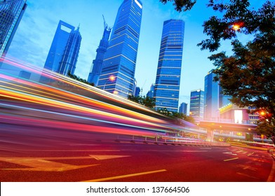 Shanghai Lujiazui Finance and Trade Zone of the modern city night background
