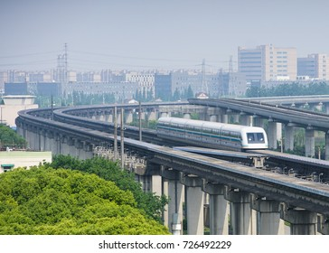 Shanghai magnetic levitation (maglev) train departure.This train link international airport with Shanghai downtown area.