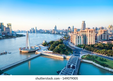 shanghai morning,beautiful huangpu river and the bund.China