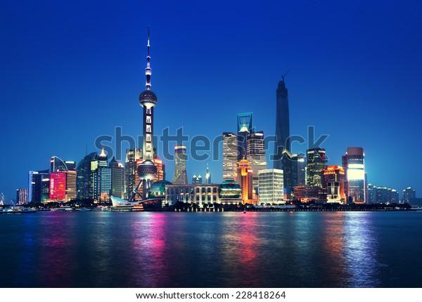 Nachts Shanghai, China