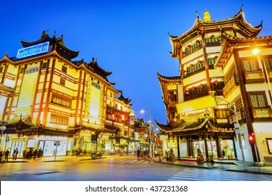 Shanghai at night. City God Temple and Yu Garden Tourist Area. Located in Shanghai City, China.