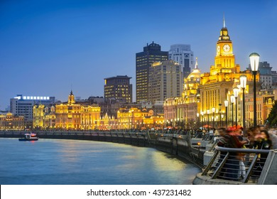 Shanghai at night. Located in The Bund (Waitan). It is a waterfront area in central Shanghai, one of the most famous tourist destinations in Shanghai, China.
