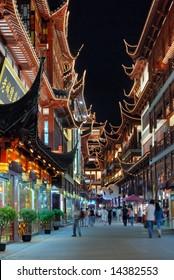 Shanghai old town night view, yuyuan gardens and bazaar