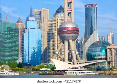 Shanghai Pudong architecture with urban skyscrapers, China