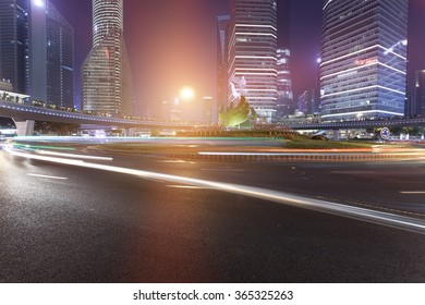 Shanghai Pudong city road light trails