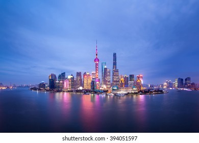 Shanghai pudong lujiazui panorama