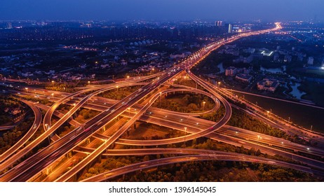 Shanghai Pudong New Area Urban Road Landmark Architecture Landscape-Luoshan Viaduct and Zhonghuan Road Interchange