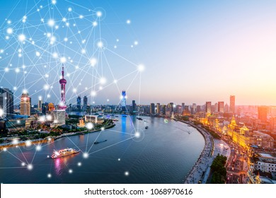 Shanghai rapid development in the city, busy data network space