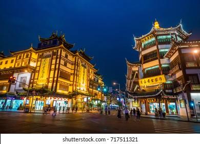 SHANGHAI - SEP 5: Tourists visit Yuyuan garden and shopping street on September 5, 2017 in Shanghai, China.