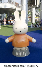 SHANGHAI - SEPT 1: WORLD EXPO Well known Cartoon character Miffy statue in Holland Pavilion for visitors. Sept 1, 2010 in Shanghai China