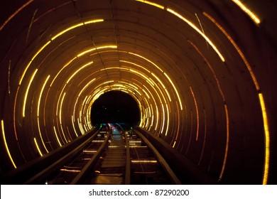 Shanghai sight seeing tunnel  under Huangpu  river