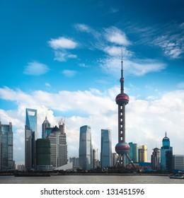 shanghai skyline against a blue sky,China.