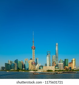 Shanghai skyline with blue sky, China