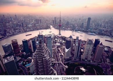 Shanghai skyline cityscape, Aerial view of shanghai, shanghai lujiazui finance and business district trade zone skyline, Shanghai China
