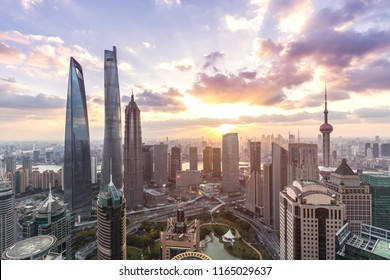 Shanghai skyline and cityscape at sunset