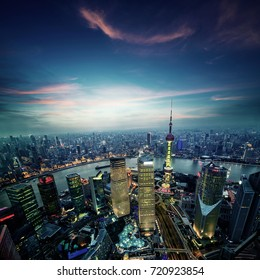 shanghai skyline in daytime,huangpu river and pudong financial district , China