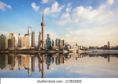 shanghai skyline at dusk with reflection,China