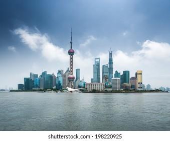 shanghai skyline with huangpu river  ,modern city background
